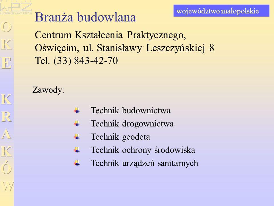 Branża budowlana Centrum Kształcenia Praktycznego, Oświęcim, ul. Stanisławy Leszczyńskiej 8 Tel. (33) 843-42-70 Technik budownictwa Technik drogownict