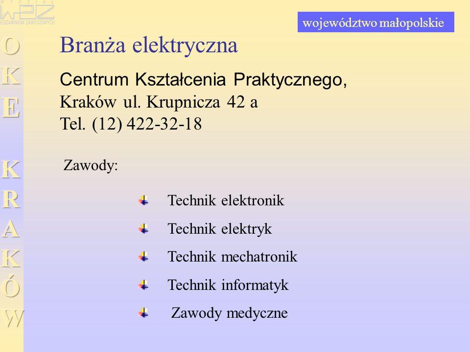Branża elektryczna Centrum Kształcenia Praktycznego, Kraków ul. Krupnicza 42 a Tel. (12) 422-32-18 Technik elektronik Technik elektryk Technik mechatr