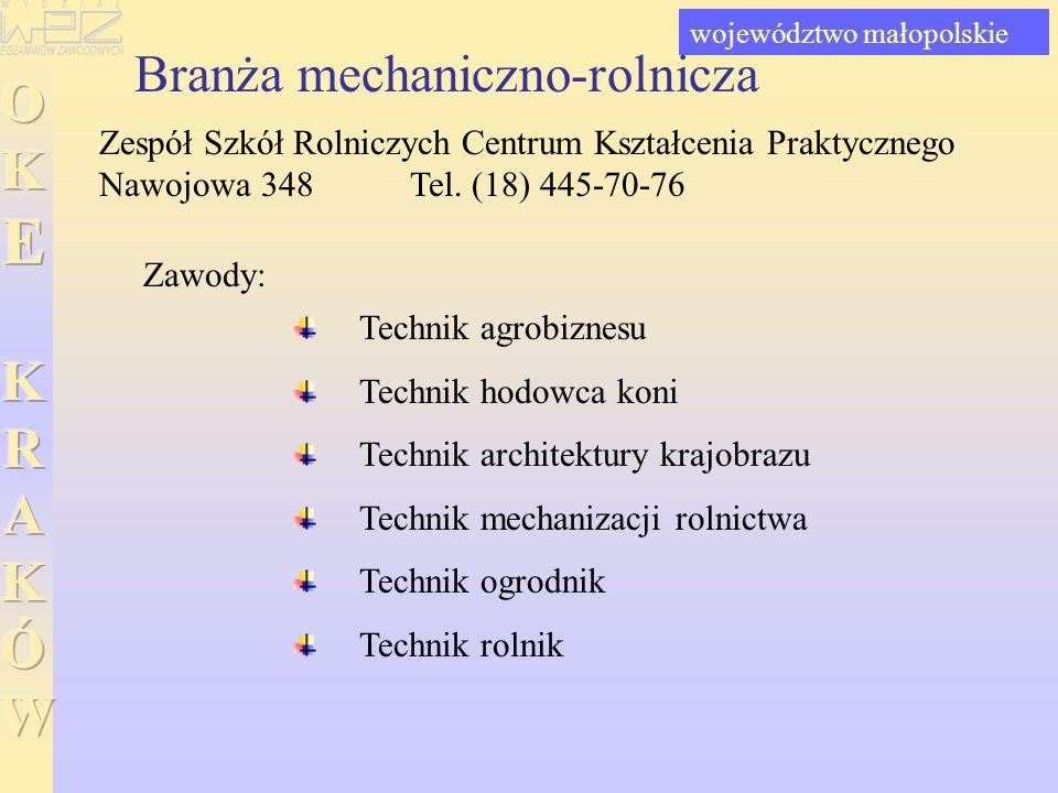 Branża mechaniczno-rolnicza Zespół Szkół Rolniczych Centrum Kształcenia Praktycznego Nawojowa 348 Tel. (18) 445-70-76 Technik agrobiznesu Technik hodo