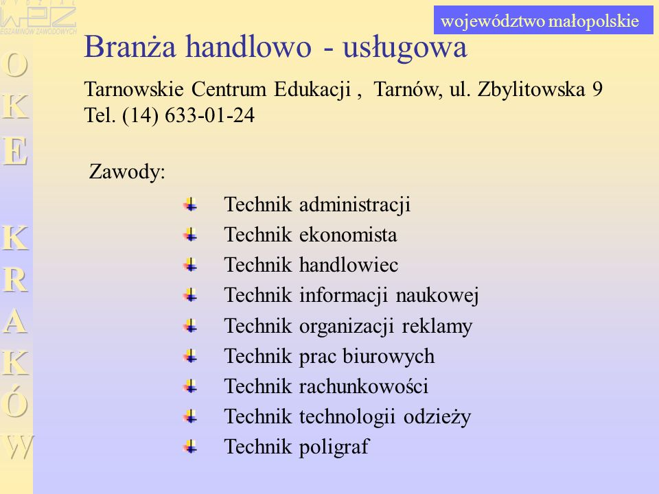 Branża handlowo - usługowa Tarnowskie Centrum Edukacji, Tarnów, ul. Zbylitowska 9 Tel. (14) 633-01-24 Technik administracji Technik ekonomista Technik