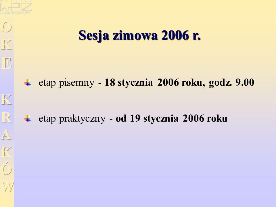 Sesja zimowa 2006 r. etap pisemny - 18 stycznia 2006 roku, godz. 9.00 etap praktyczny - od 19 stycznia 2006 roku