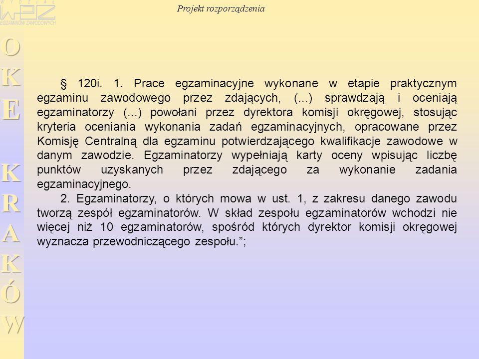 § 120i. 1. Prace egzaminacyjne wykonane w etapie praktycznym egzaminu zawodowego przez zdających, (...) sprawdzają i oceniają egzaminatorzy (...) powo