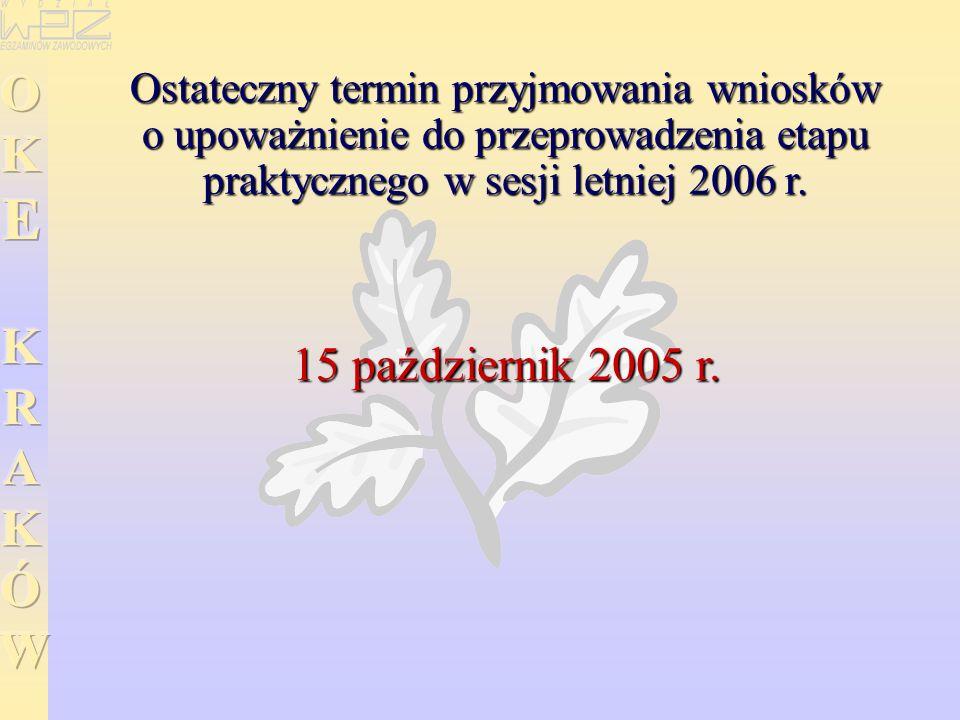 Ostateczny termin przyjmowania wniosków o upoważnienie do przeprowadzenia etapu praktycznego w sesji letniej 2006 r. 15 październik 2005 r.