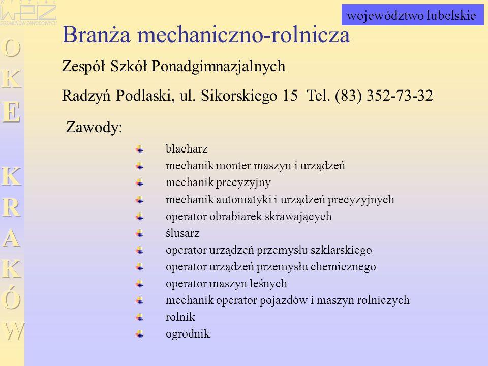 Branża mechaniczno-rolnicza Zespół Szkół Ponadgimnazjalnych Radzyń Podlaski, ul. Sikorskiego 15 Tel. (83) 352-73-32 blacharz mechanik monter maszyn i