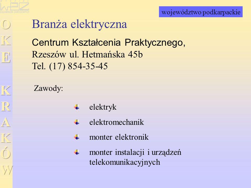 Branża elektryczna Centrum Kształcenia Praktycznego, Rzeszów ul. Hetmańska 45b Tel. (17) 854-35-45 elektryk elektromechanik monter elektronik monter i