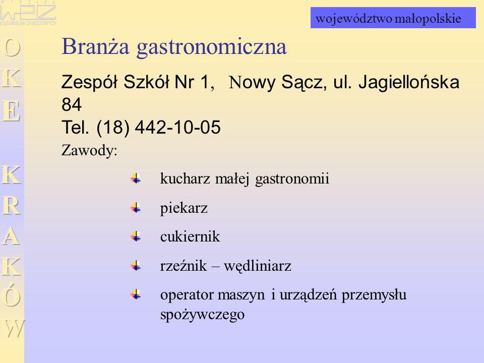 Branża gastronomiczna Zespół Szkół Nr 1, Nowy Sącz, ul. Jagiellońska 84 Tel. (18) 442-10-05 kucharz małej gastronomii piekarz cukiernik rzeźnik – wędl