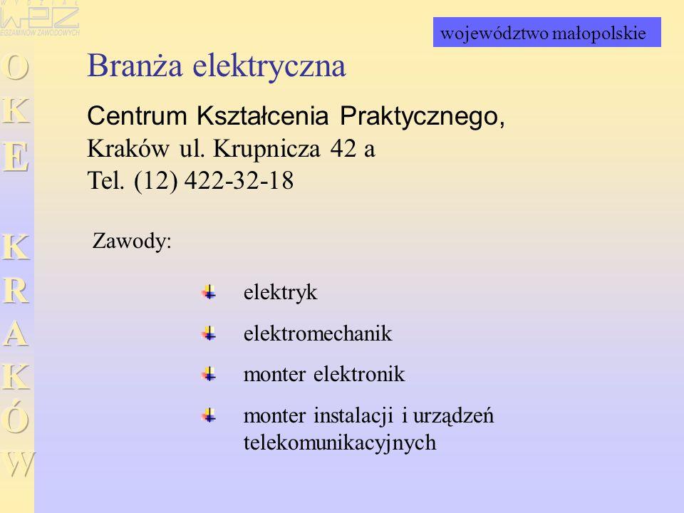 Branża elektryczna Centrum Kształcenia Praktycznego, Kraków ul. Krupnicza 42 a Tel. (12) 422-32-18 elektryk elektromechanik monter elektronik monter i
