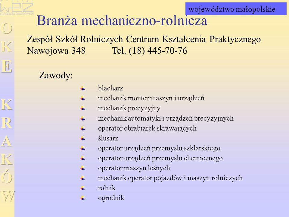 Branża mechaniczno-rolnicza Zespół Szkół Rolniczych Centrum Kształcenia Praktycznego Nawojowa 348 Tel. (18) 445-70-76 blacharz mechanik monter maszyn