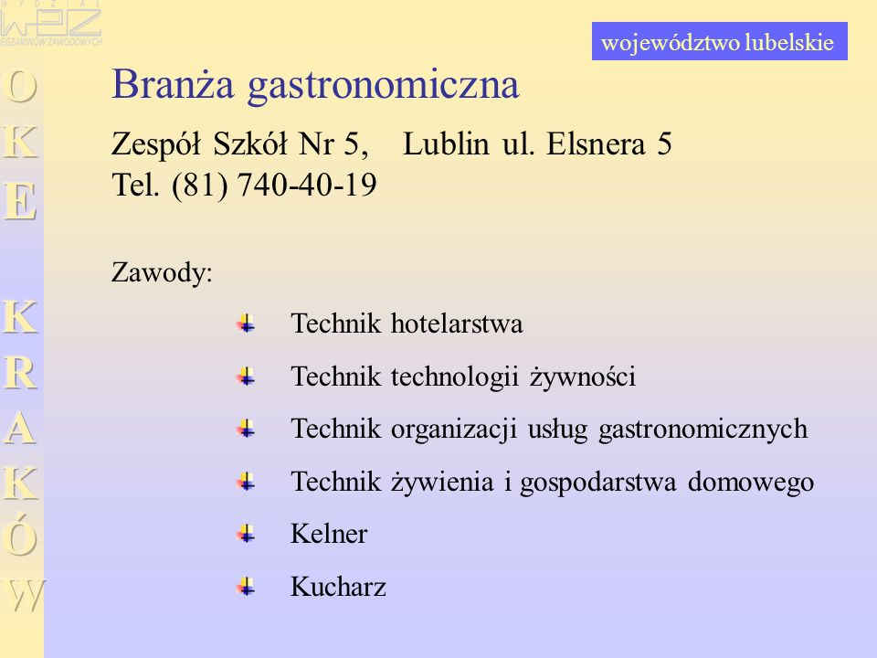 Branża gastronomiczna Zespół Szkół Nr 5, Lublin ul. Elsnera 5 Tel. (81) 740-40-19 Technik hotelarstwa Technik technologii żywności Technik organizacji