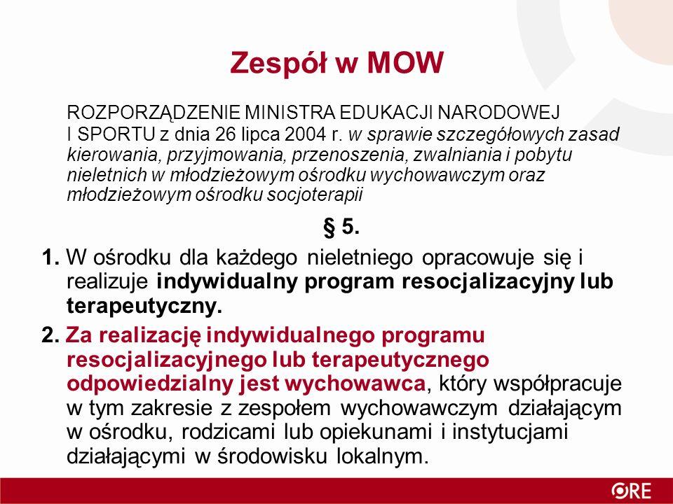 Zespół w MOW ROZPORZĄDZENIE MINISTRA EDUKACJI NARODOWEJ I SPORTU z dnia 26 lipca 2004 r.