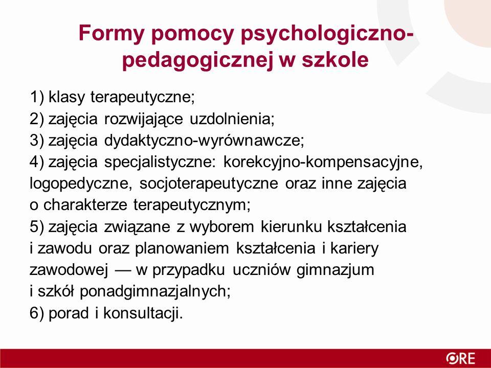 Formy pomocy psychologiczno- pedagogicznej w szkole 1) klasy terapeutyczne; 2) zajęcia rozwijające uzdolnienia; 3) zajęcia dydaktyczno-wyrównawcze; 4) zajęcia specjalistyczne: korekcyjno-kompensacyjne, logopedyczne, socjoterapeutyczne oraz inne zajęcia o charakterze terapeutycznym; 5) zajęcia związane z wyborem kierunku kształcenia i zawodu oraz planowaniem kształcenia i kariery zawodowej — w przypadku uczniów gimnazjum i szkół ponadgimnazjalnych; 6) porad i konsultacji.