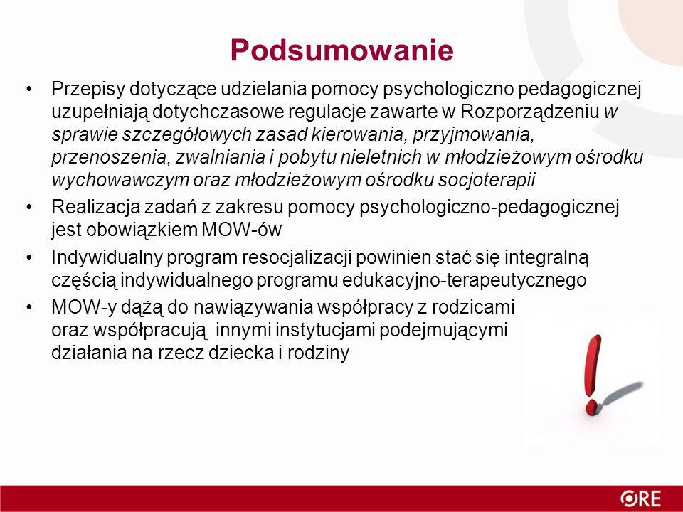 Podsumowanie Przepisy dotyczące udzielania pomocy psychologiczno pedagogicznej uzupełniają dotychczasowe regulacje zawarte w Rozporządzeniu w sprawie szczegółowych zasad kierowania, przyjmowania, przenoszenia, zwalniania i pobytu nieletnich w młodzieżowym ośrodku wychowawczym oraz młodzieżowym ośrodku socjoterapii Realizacja zadań z zakresu pomocy psychologiczno-pedagogicznej jest obowiązkiem MOW-ów Indywidualny program resocjalizacji powinien stać się integralną częścią indywidualnego programu edukacyjno-terapeutycznego MOW-y dążą do nawiązywania współpracy z rodzicami oraz współpracują innymi instytucjami podejmującymi działania na rzecz dziecka i rodziny