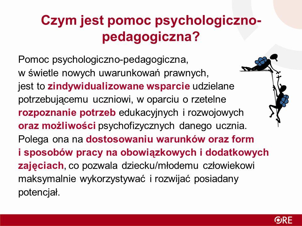Zadania zespołu (2/2) 4) ocena efektywności pomocy psychologiczno-pedagogicznej udzielanej uczniowi, w tym efektywności realizowanych zajęć, dotyczącej: –danej formy pomocy psychologiczno-pedagogicznej – po zakończeniu jej udzielania; –pomocy psychologiczno-pedagogicznej udzielonej w danym roku szkolnym – przed opracowaniem arkusza organizacji przedszkola, szkoły lub placówki, na kolejny rok szkolny 5) podejmowanie działań mediacyjnych i interwencyjnych w sytuacjach kryzysowych.