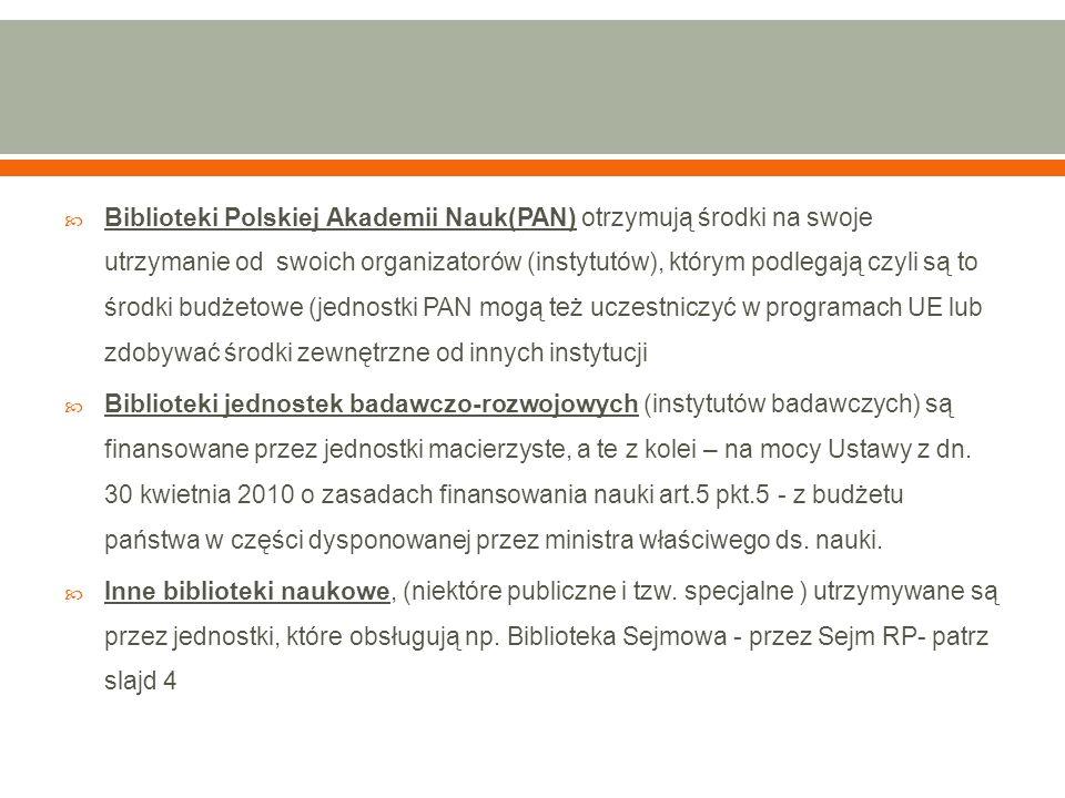  Biblioteki Polskiej Akademii Nauk(PAN) otrzymują środki na swoje utrzymanie od swoich organizatorów (instytutów), którym podlegają czyli są to środki budżetowe (jednostki PAN mogą też uczestniczyć w programach UE lub zdobywać środki zewnętrzne od innych instytucji  Biblioteki jednostek badawczo-rozwojowych (instytutów badawczych) są finansowane przez jednostki macierzyste, a te z kolei – na mocy Ustawy z dn.