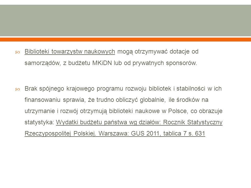  Biblioteki towarzystw naukowych mogą otrzymywać dotacje od samorządów, z budżetu MKiDN lub od prywatnych sponsorów.  Brak spójnego krajowego progra