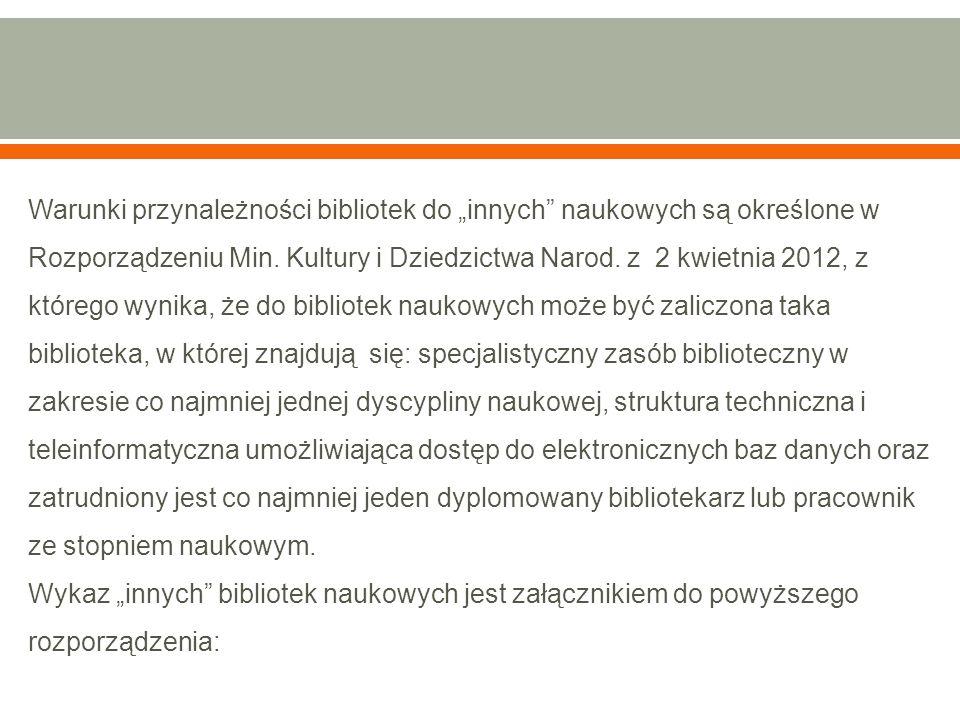 """Warunki przynależności bibliotek do """"innych"""" naukowych są określone w Rozporządzeniu Min. Kultury i Dziedzictwa Narod. z 2 kwietnia 2012, z którego wy"""