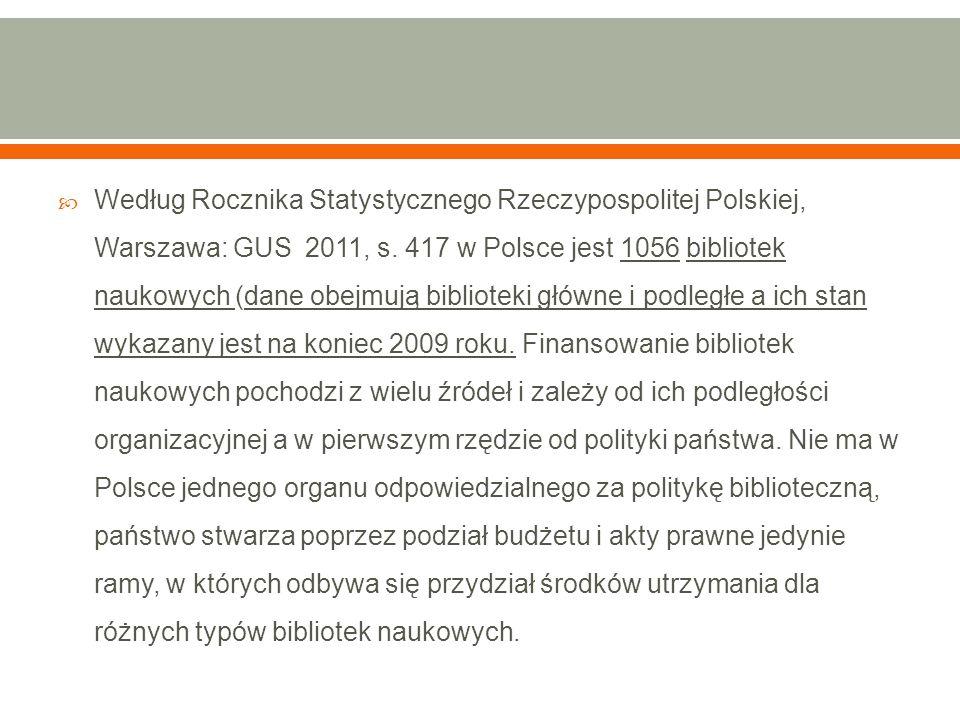  Według Rocznika Statystycznego Rzeczypospolitej Polskiej, Warszawa: GUS 2011, s. 417 w Polsce jest 1056 bibliotek naukowych (dane obejmują bibliotek