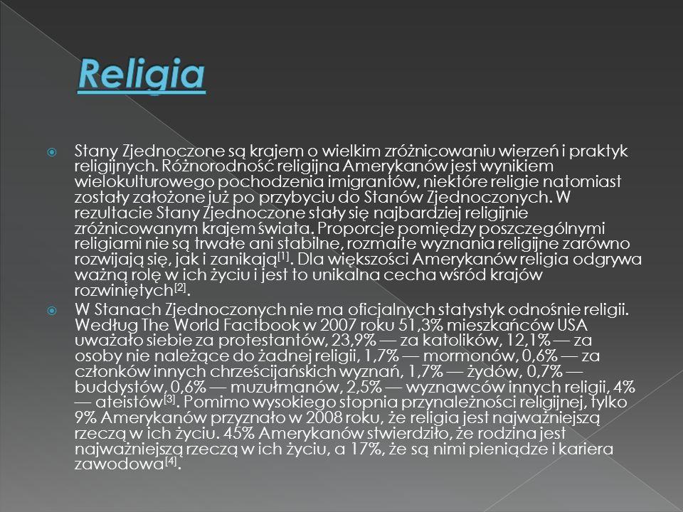  Stany Zjednoczone są krajem o wielkim zróżnicowaniu wierzeń i praktyk religijnych. Różnorodność religijna Amerykanów jest wynikiem wielokulturowego