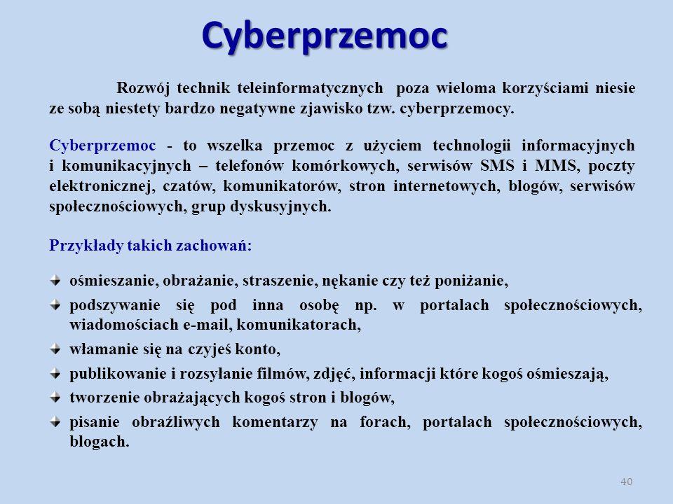 Cyberprzemoc Cyberprzemoc - to wszelka przemoc z użyciem technologii informacyjnych i komunikacyjnych – telefonów komórkowych, serwisów SMS i MMS, poczty elektronicznej, czatów, komunikatorów, stron internetowych, blogów, serwisów społecznościowych, grup dyskusyjnych.