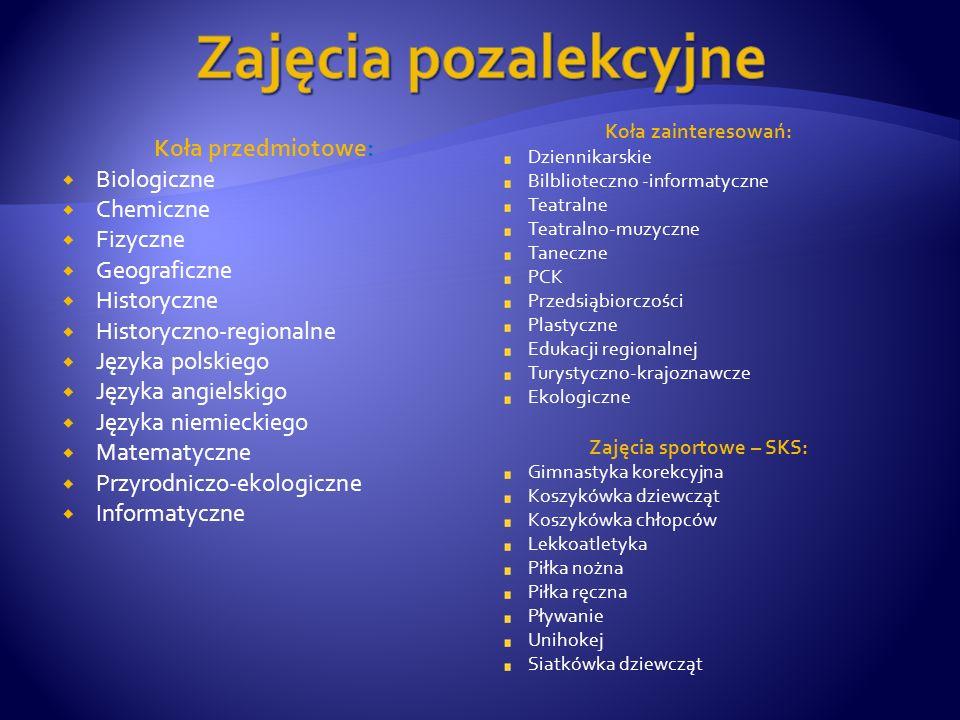 Koła przedmiotowe:  Biologiczne  Chemiczne  Fizyczne  Geograficzne  Historyczne  Historyczno-regionalne  Języka polskiego  Języka angielskigo