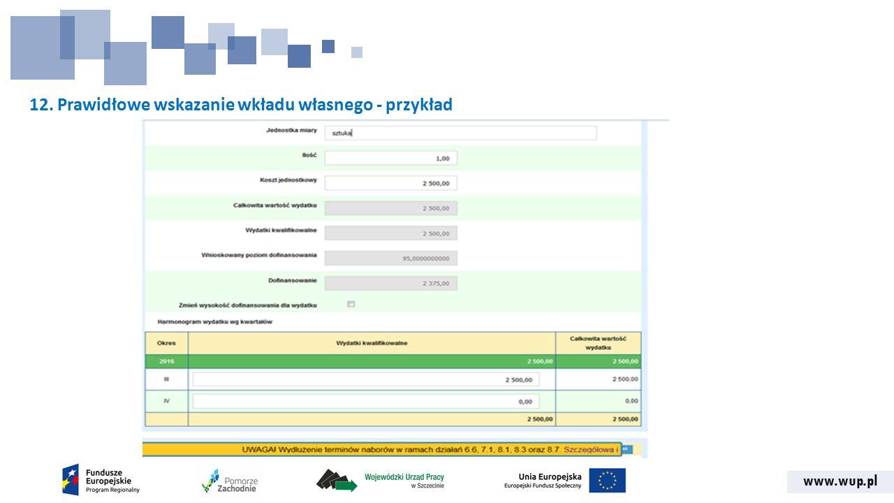 www.wup.pl 12. Prawidłowe wskazanie wkładu własnego - przykład