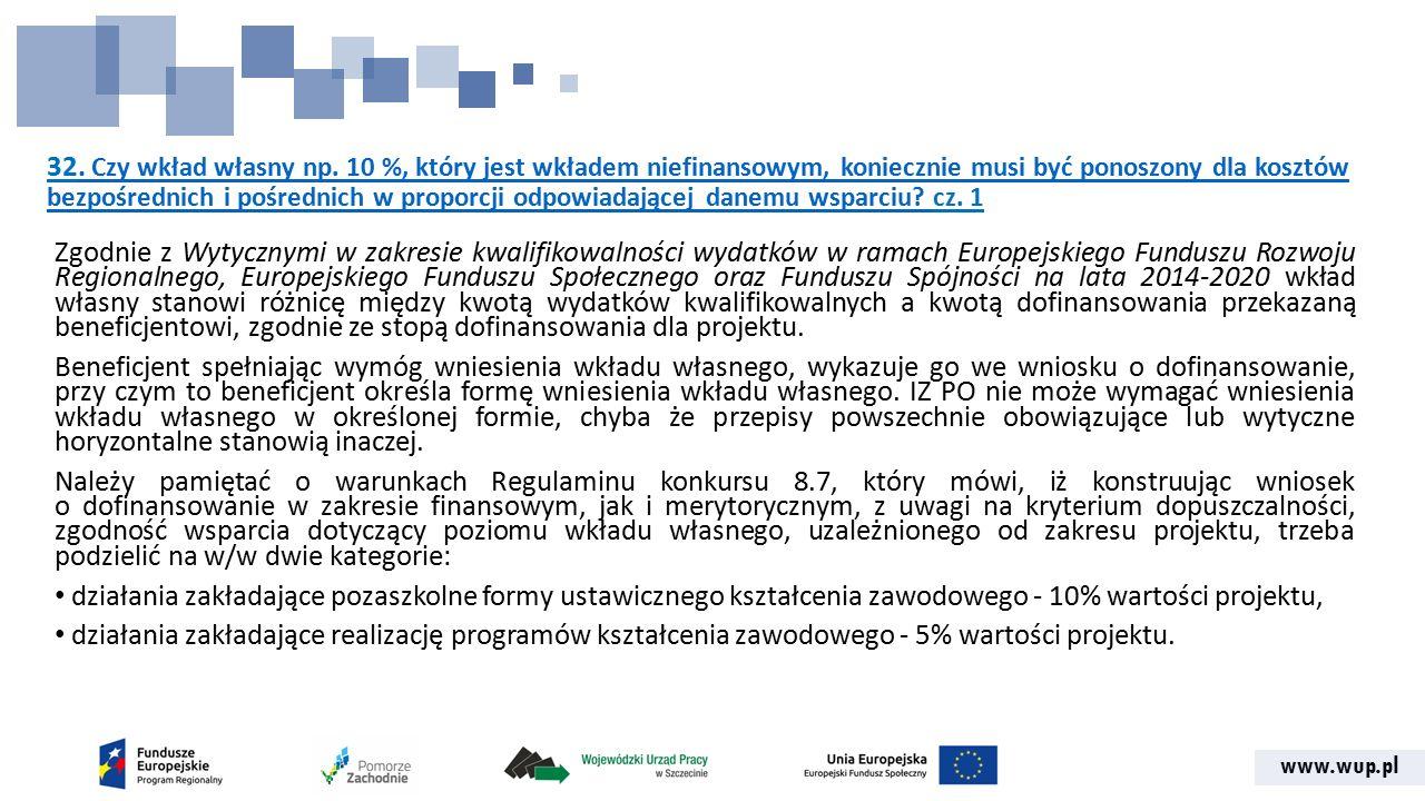 www.wup.pl 32. Czy wkład własny np. 10 %, który jest wkładem niefinansowym, koniecznie musi być ponoszony dla kosztów bezpośrednich i pośrednich w pro