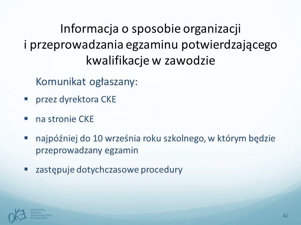 42 Informacja o sposobie organizacji i przeprowadzania egzaminu potwierdzającego kwalifikacje w zawodzie