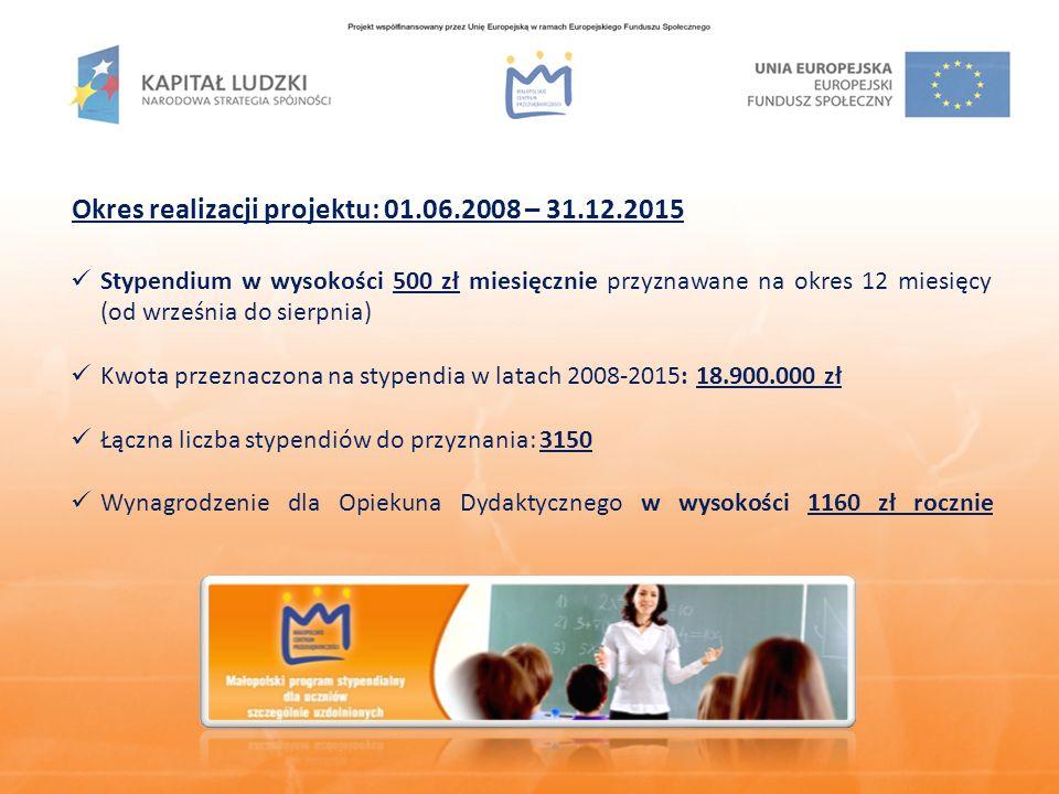 Nabory wniosków w ramach projektu: I nabór wniosków na rok szkolny 2008/2009 – przyznano 451 stypendiów II nabór wniosków na rok szkolny 2009/2010 – przyznano 283 stypendia Nabór wniosków na rok szkolny 2010/2011 Termin: 6 września – 8 października 2010 r.