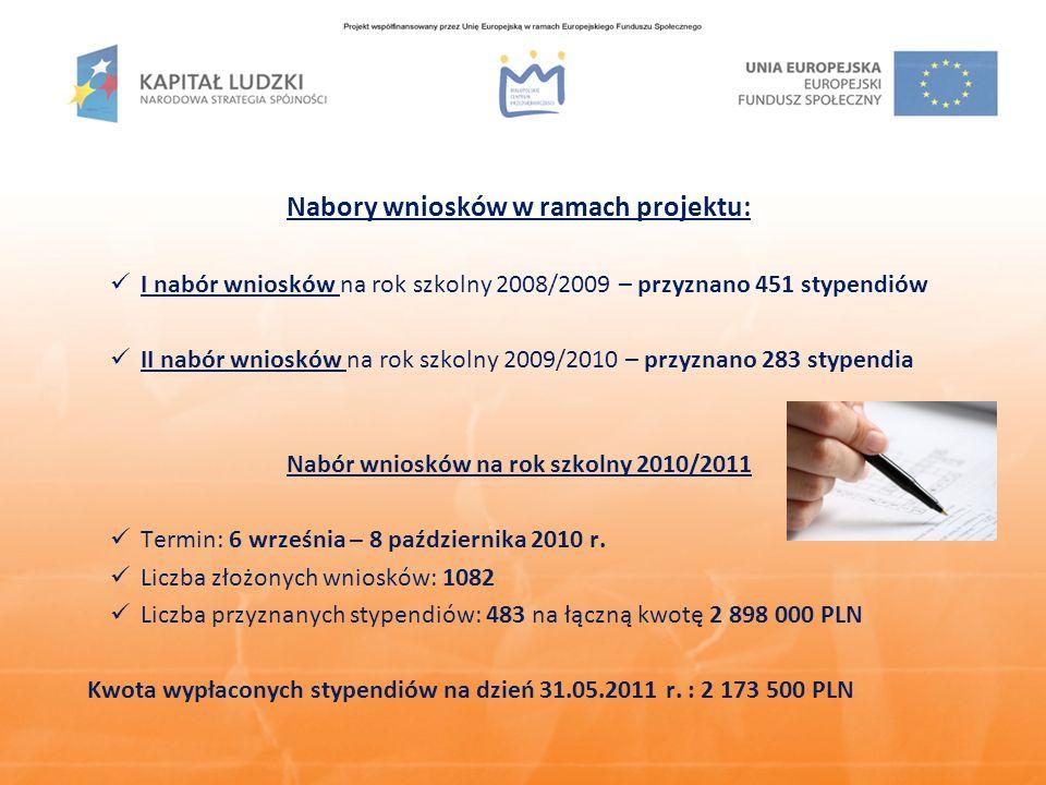 Najważniejsze wydarzenia informacyjno-promocyjne w bieżącym roku realizacji projektu Uroczyste podpisanie tysięcznej umowy stypendialnej 23 lutego 2011 r.