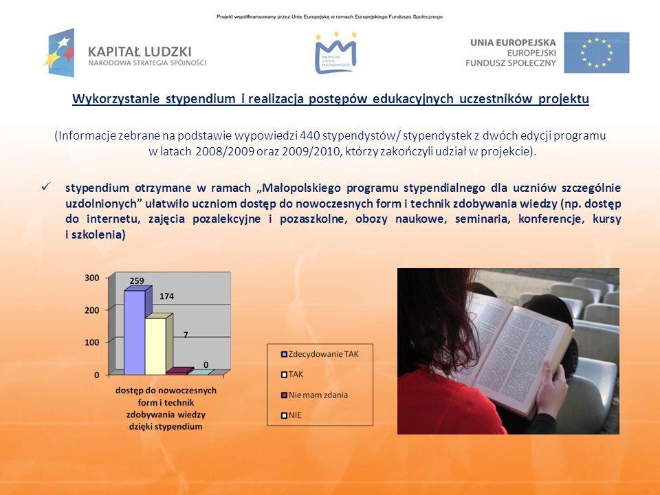 Wykorzystanie stypendium i realizacja postępów edukacyjnych uczestników projektu (Informacje zebrane na podstawie wypowiedzi 440 stypendystów/ stypendystek z dwóch edycji programu w latach 2008/2009 oraz 2009/2010, którzy zakończyli udział w projekcie).