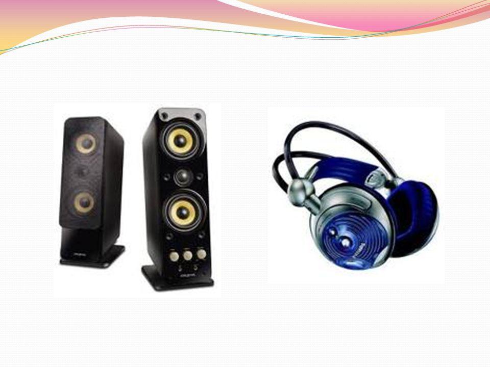 URZĄDZENIA WYJŚCIA Głośniki i słuchawki to kolejne urządzenia wyjściowe, dzięki którym możemy odbierać efekty dźwiękowe. Do kart dźwiękowych możemy dz