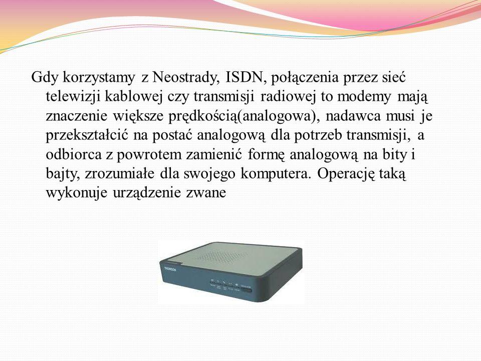 URZĄDZENIA WEJŚCIA/WYJŚCIA Modem to urządzenie, które przetwarza dane i przesyła je między komputerami z użyciem standardowej linii telefonicznej Istn