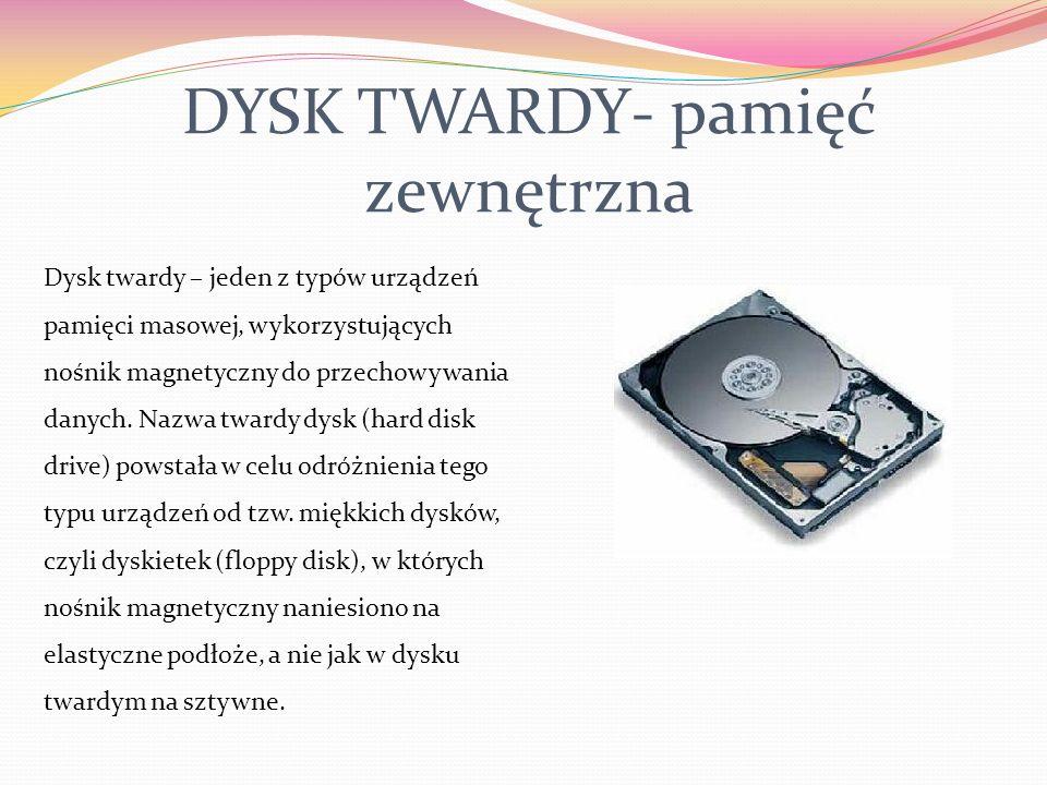 PAMIĘĆ KOMPUTERA Pamięć wewnętrzna Pamięć ROM Pamięć operacyjna (RAM) Pamięć zewnętrzna dyskietka dysk twardy płyta CD-ROM Jednostki pamięci: 1 bit (b