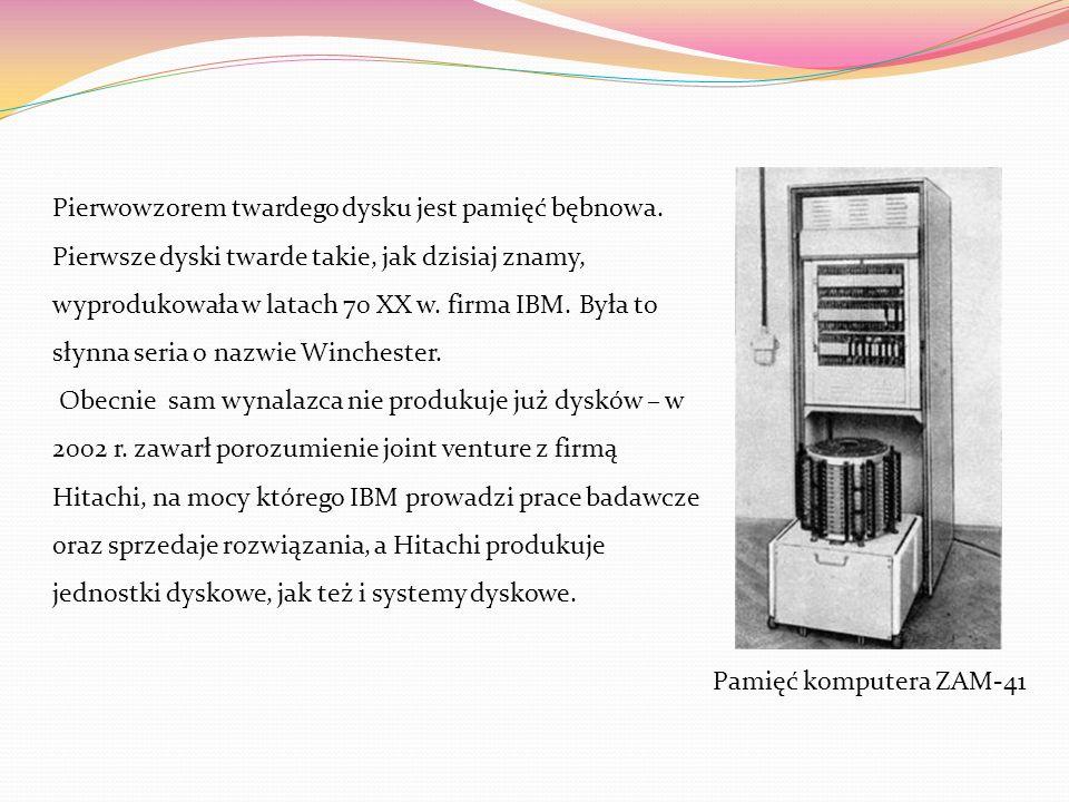 DYSK TWARDY- pamięć zewnętrzna Dysk twardy – jeden z typów urządzeń pamięci masowej, wykorzystujących nośnik magnetyczny do przechowywania danych. Naz