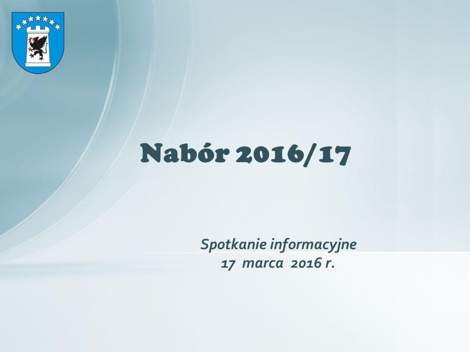 Spotkanie informacyjne 17 marca 2016 r. Nabór 2016/17