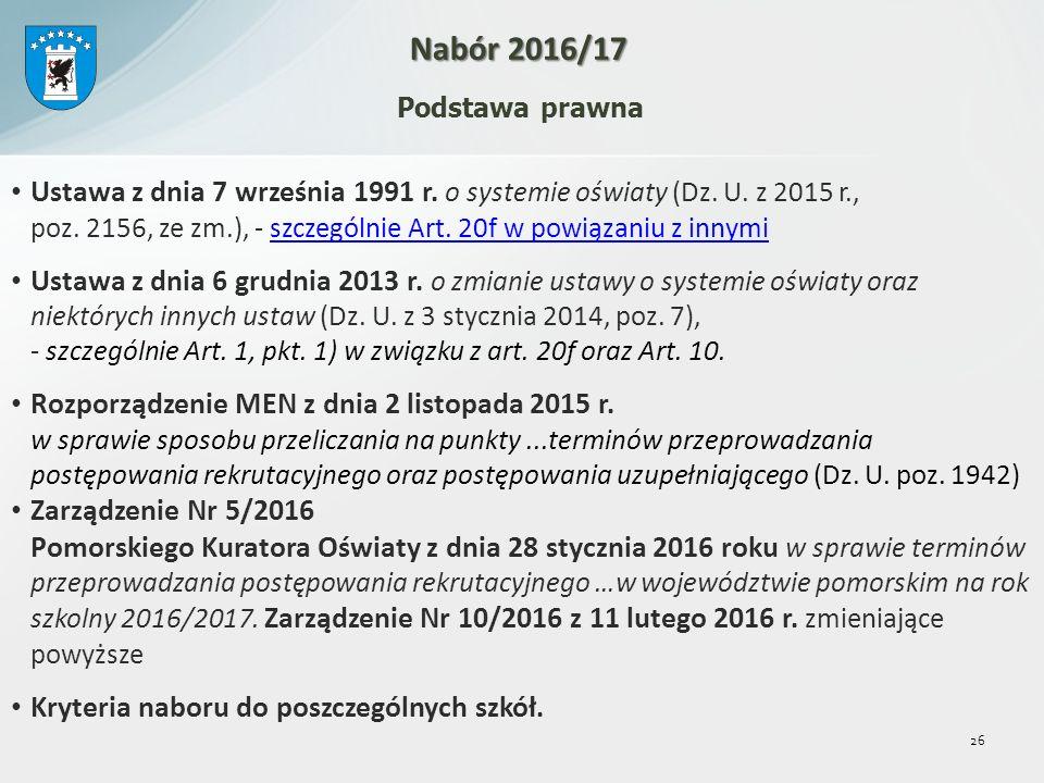 Podstawa prawna Ustawa z dnia 7 września 1991 r. o systemie oświaty (Dz.