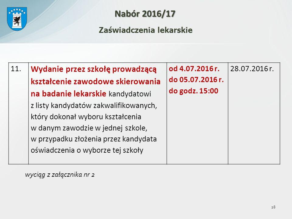 28 Zaświadczenia lekarskie Nabór 2016/17 11.