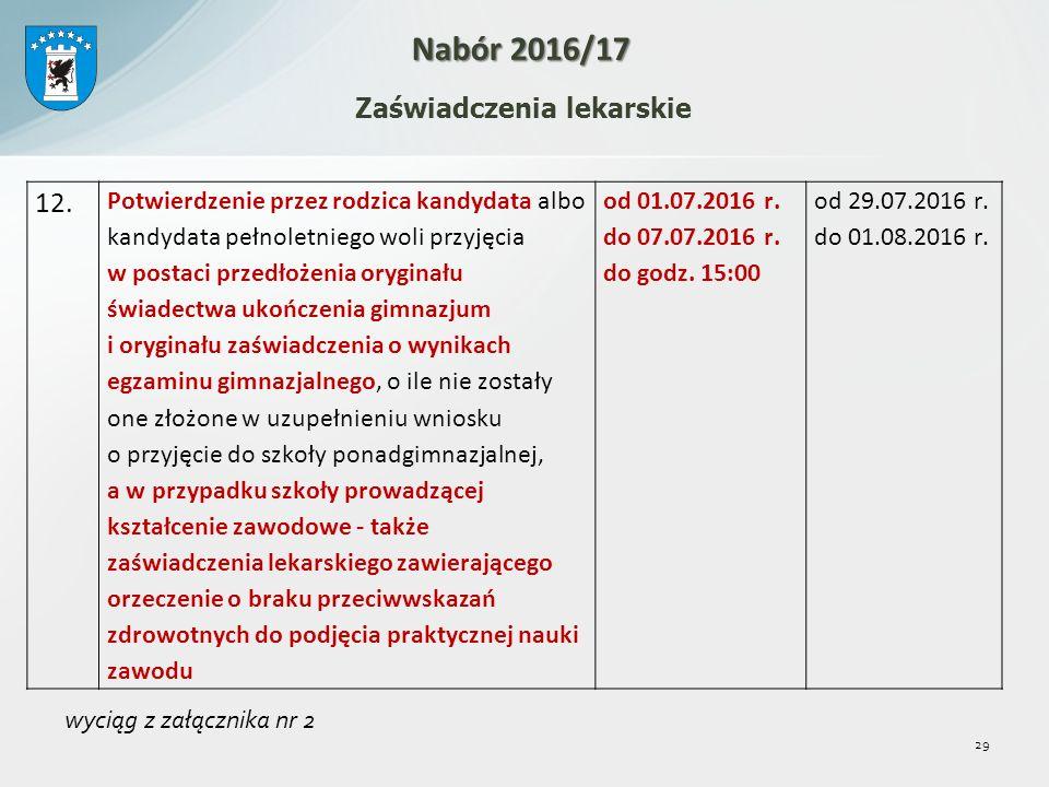 29 Zaświadczenia lekarskie Nabór 2016/17 12.