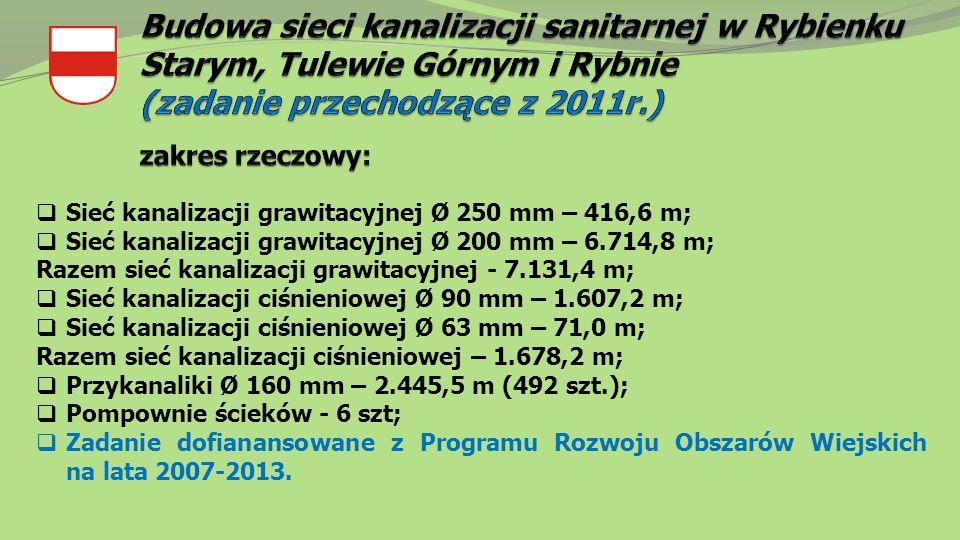  Sieć kanalizacji grawitacyjnej Ø 250 mm – 416,6 m;  Sieć kanalizacji grawitacyjnej Ø 200 mm – 6.714,8 m; Razem sieć kanalizacji grawitacyjnej - 7.131,4 m;  Sieć kanalizacji ciśnieniowej Ø 90 mm – 1.607,2 m;  Sieć kanalizacji ciśnieniowej Ø 63 mm – 71,0 m; Razem sieć kanalizacji ciśnieniowej – 1.678,2 m;  Przykanaliki Ø 160 mm – 2.445,5 m (492 szt.);  Pompownie ścieków - 6 szt;  Zadanie dofianansowane z Programu Rozwoju Obszarów Wiejskich na lata 2007-2013.