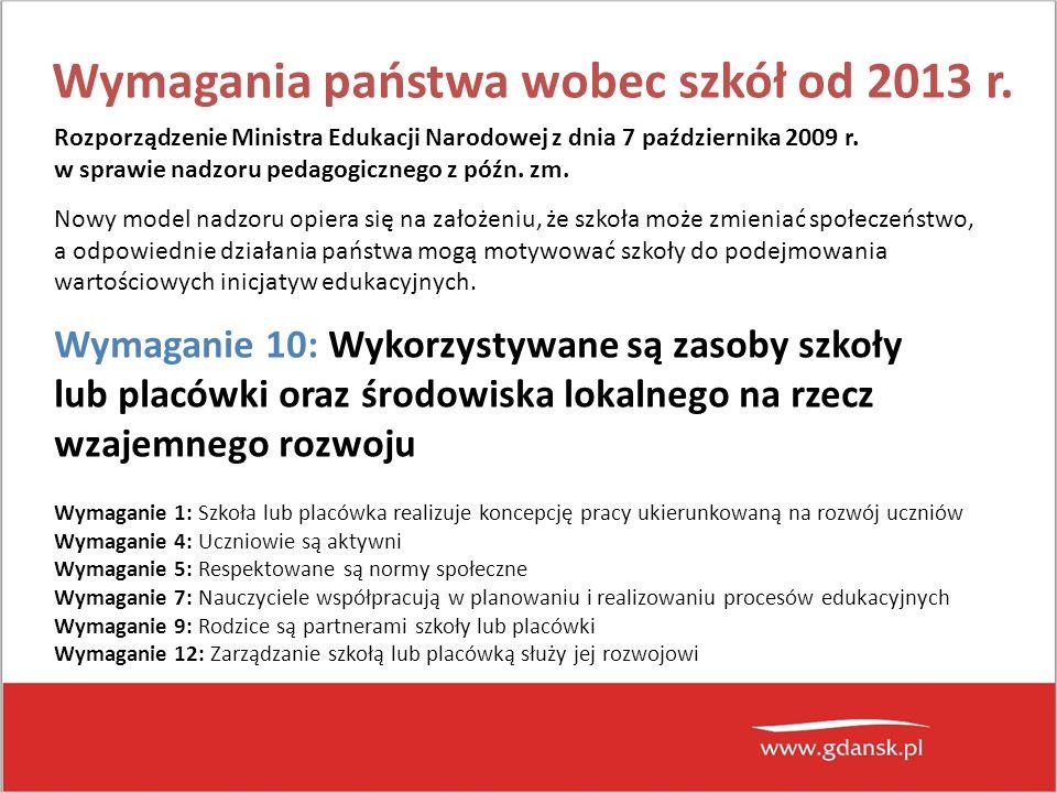 Wymagania państwa wobec szkół od 2013 r.