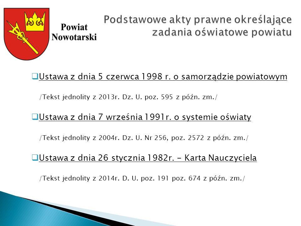  Ustawa z dnia 5 czerwca 1998 r. o samorządzie powiatowym /Tekst jednolity z 2013r.