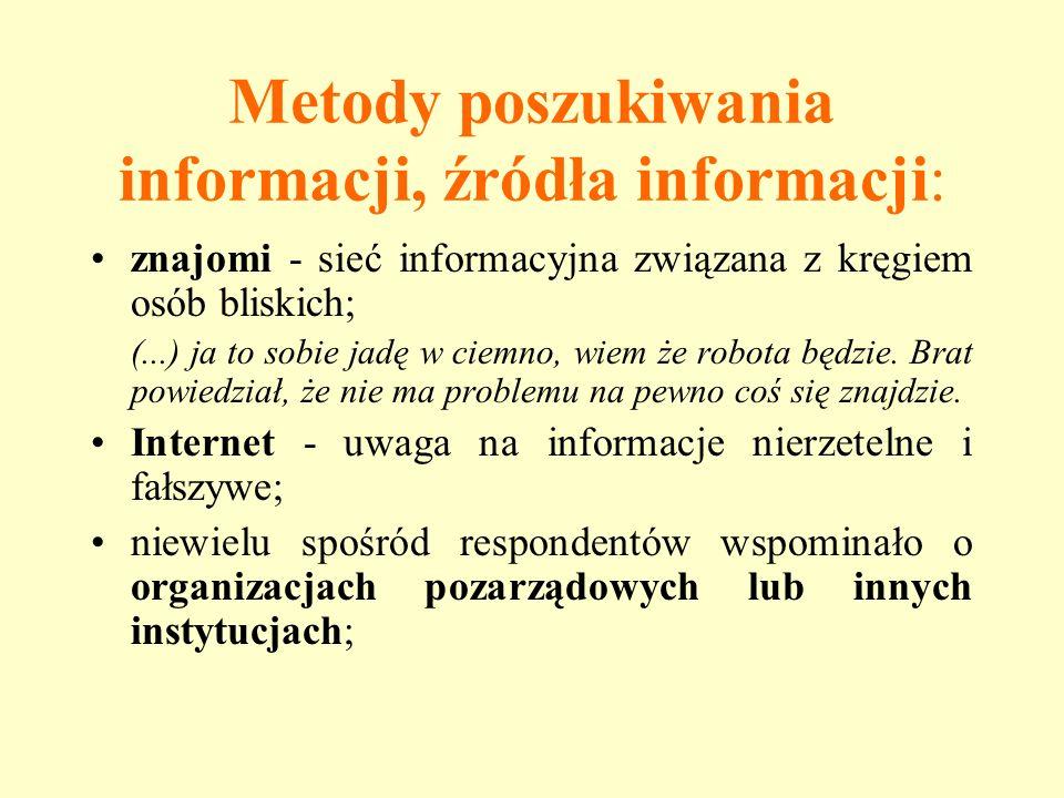 Metody poszukiwania informacji, źródła informacji: znajomi - sieć informacyjna związana z kręgiem osób bliskich; (...) ja to sobie jadę w ciemno, wiem