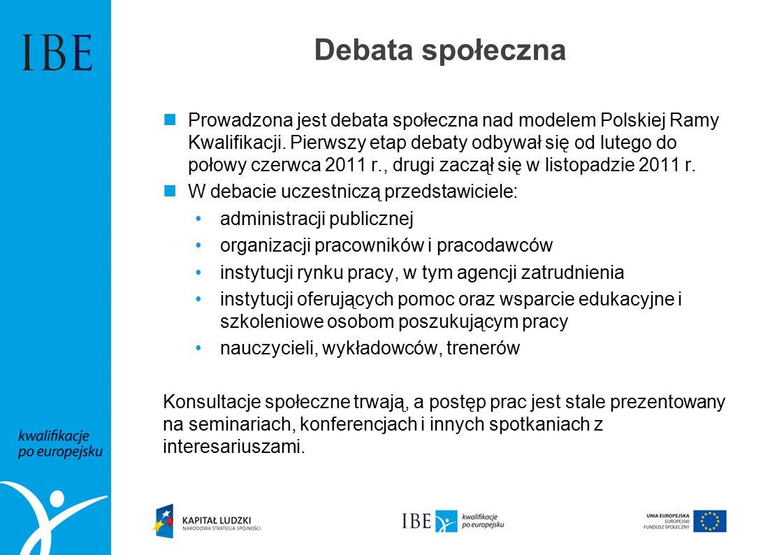 Debata społeczna Prowadzona jest debata społeczna nad modelem Polskiej Ramy Kwalifikacji.