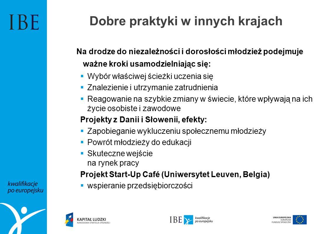 Na drodze do niezależności i dorosłości młodzież podejmuje ważne kroki usamodzielniając się:  Wybór właściwej ścieżki uczenia się  Znalezienie i utrzymanie zatrudnienia  Reagowanie na szybkie zmiany w świecie, które wpływają na ich życie osobiste i zawodowe Projekty z Danii i Słowenii, efekty:  Zapobieganie wykluczeniu społecznemu młodzieży  Powrót młodzieży do edukacji  Skuteczne wejście na rynek pracy Projekt Start-Up Café (Uniwersytet Leuven, Belgia)  wspieranie przedsiębiorczości Dobre praktyki w innych krajach