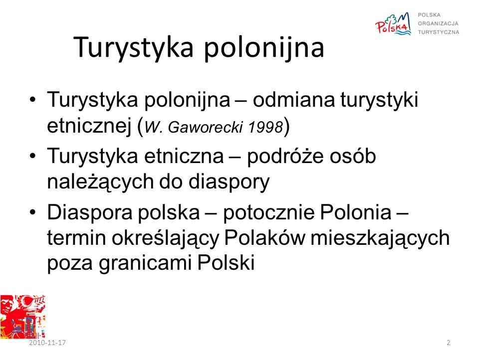 Turystyka polonijna Turystyka polonijna – odmiana turystyki etnicznej ( W.