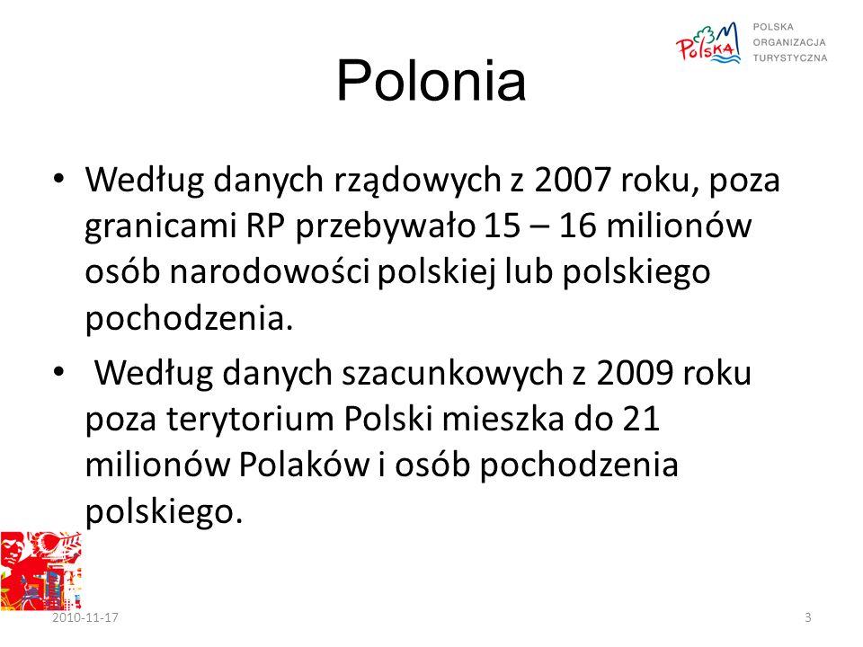 Polonia Według danych rządowych z 2007 roku, poza granicami RP przebywało 15 – 16 milionów osób narodowości polskiej lub polskiego pochodzenia.