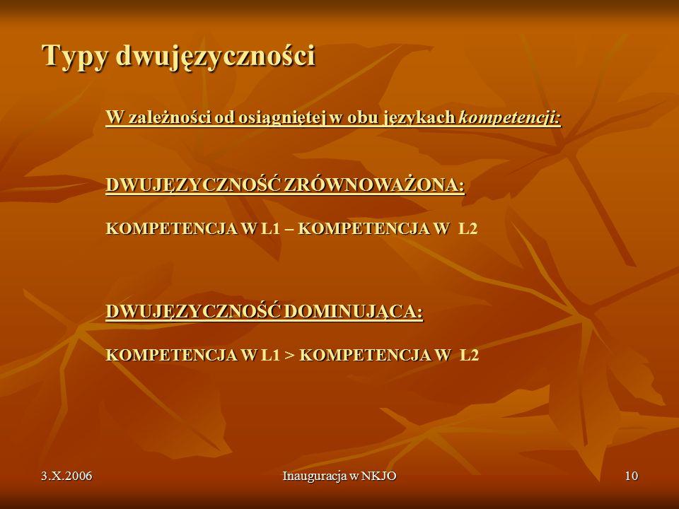 3.X.2006Inauguracja w NKJO10 Typy dwujęzyczności W zależności od osiągniętej w obu językach kompetencji: DWUJĘZYCZNOŚĆ ZRÓWNOWAŻONA: KOMPETENCJA W KOMPETENCJA W DWUJĘZYCZNOŚĆ DOMINUJĄCA: KOMPETENCJA W KOMPETENCJA W W zależności od osiągniętej w obu językach kompetencji: DWUJĘZYCZNOŚĆ ZRÓWNOWAŻONA: KOMPETENCJA W L1 – KOMPETENCJA W L2 DWUJĘZYCZNOŚĆ DOMINUJĄCA: KOMPETENCJA W L1 > KOMPETENCJA W L2