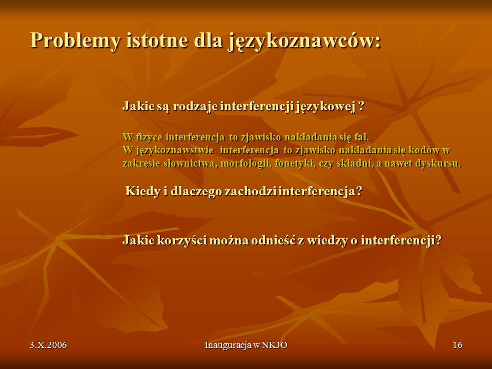 3.X.2006Inauguracja w NKJO16 Problemy istotne dla językoznawców: Jakie są rodzaje interferencji językowej .
