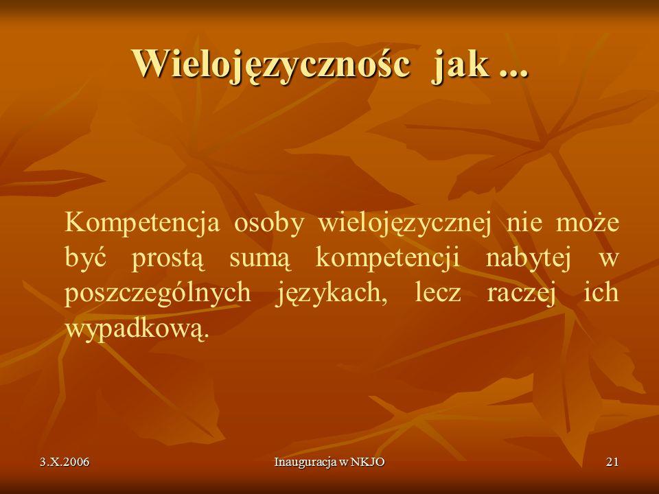 3.X.2006Inauguracja w NKJO21 Wielojęzycznośc jak...