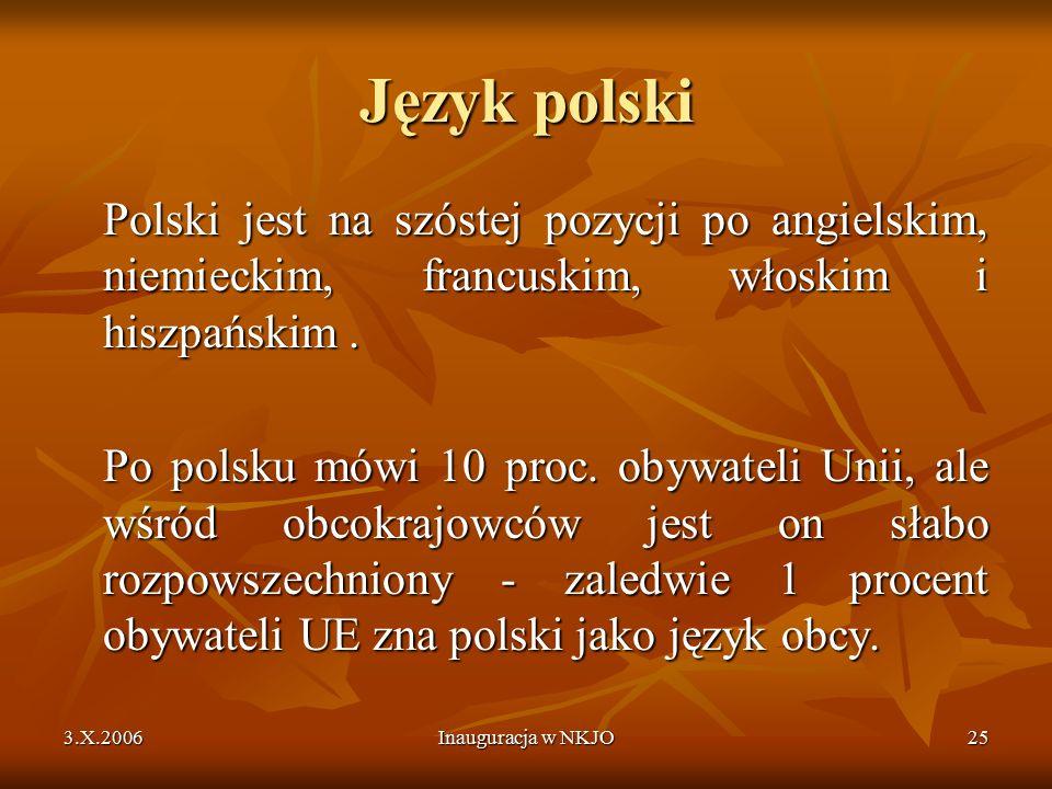 3.X.2006Inauguracja w NKJO25 Język polski Polski jest na szóstej pozycji po angielskim, niemieckim, francuskim, włoskim i hiszpańskim.
